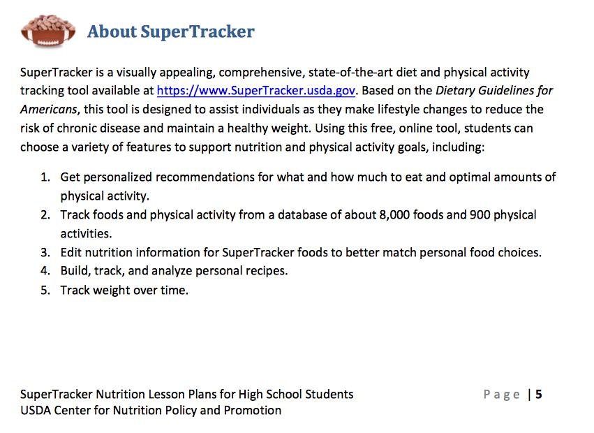 Supertracker Nutrition Lesson Plans For High School Students