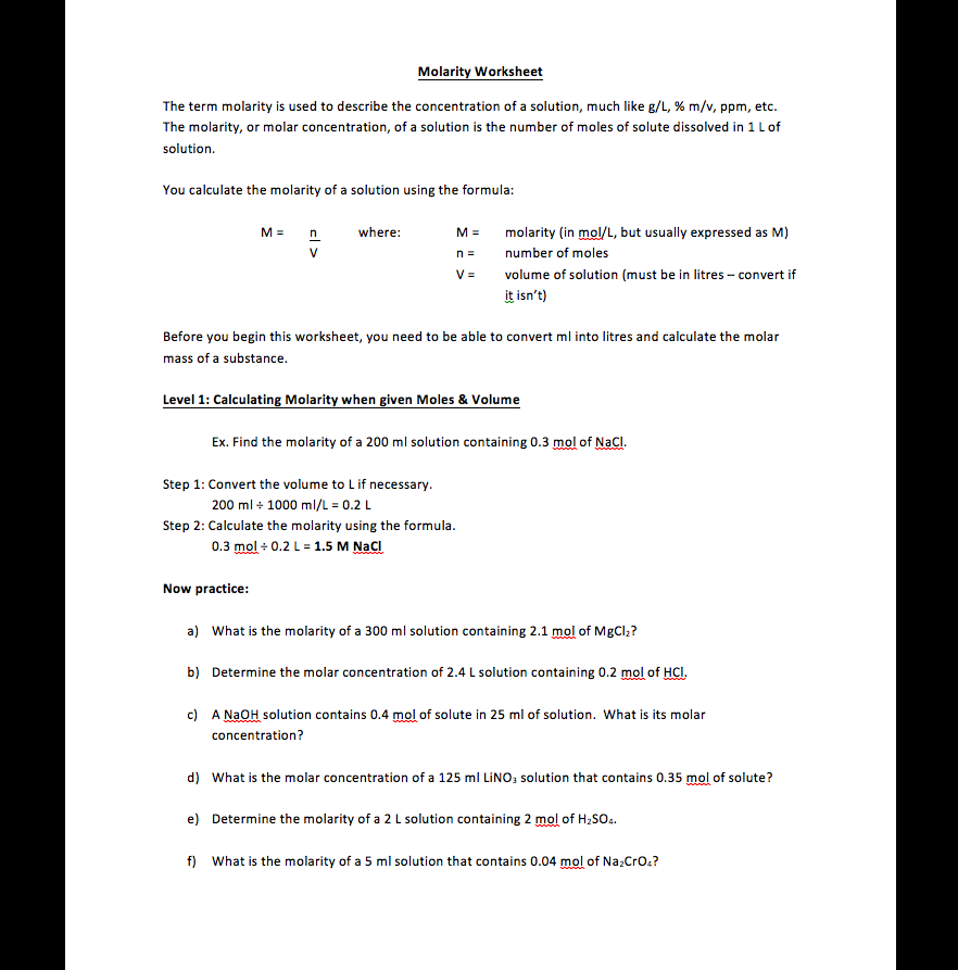 Studentcentered Molarity Worksheet – Molarity Worksheets