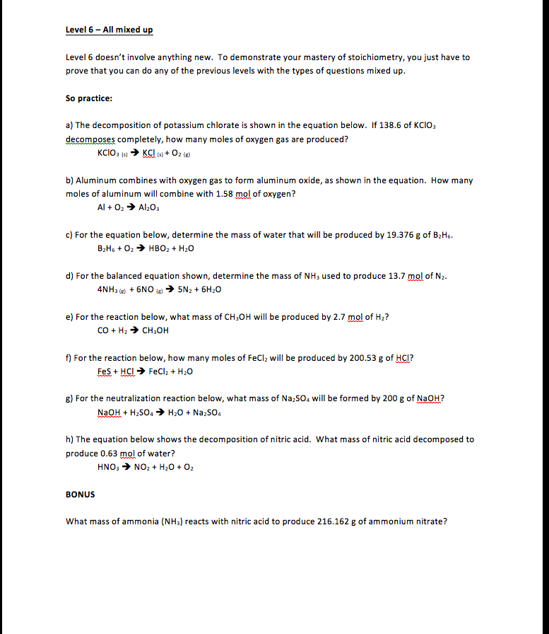 Student Centered Stoichiometry Worksheet Levels 3 To 6