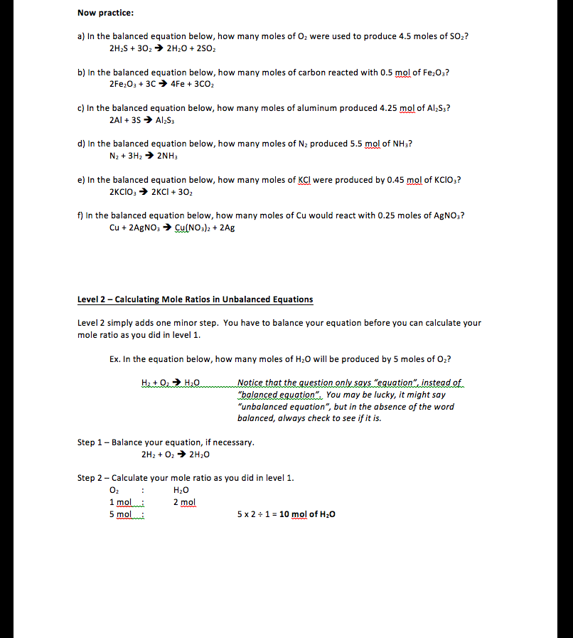 Stoichiometry Worksheet Level 2 - Kidz Activities