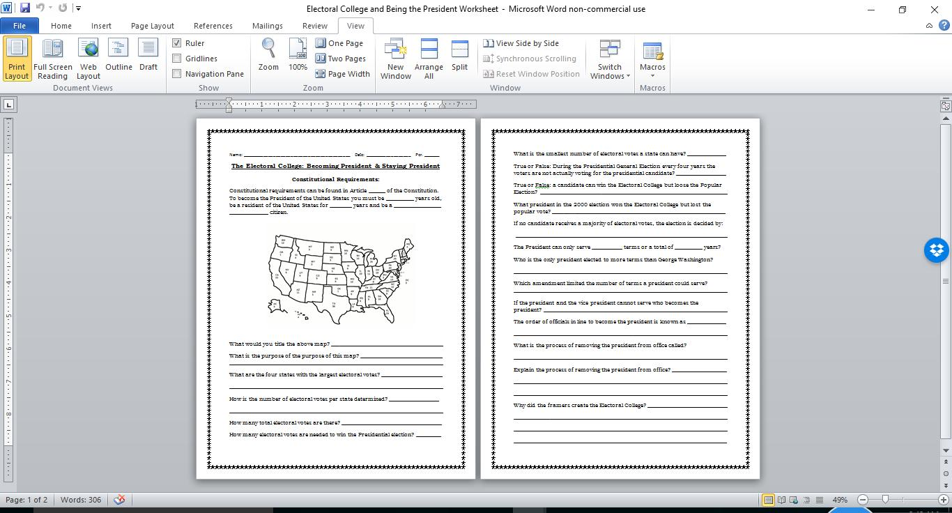 Electoral College plus Becoming the President and Staying the – Electoral College Worksheet