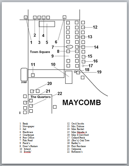 To Kill a Mockingbird Maycomb Town Map