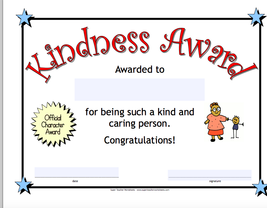 Kindness Award Template