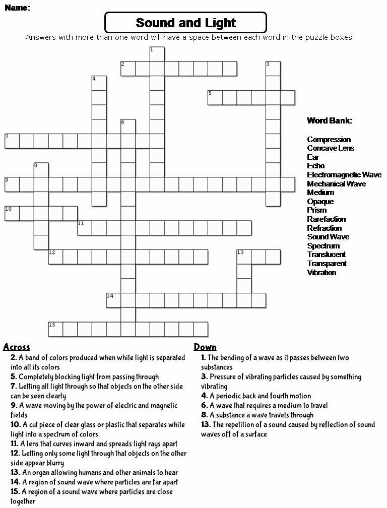 Sound And Light Crossword Puzzle