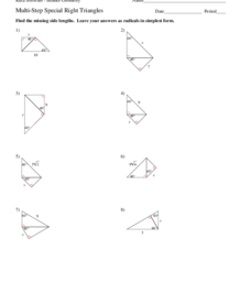 Multi-Step Special Right Triangle Problems