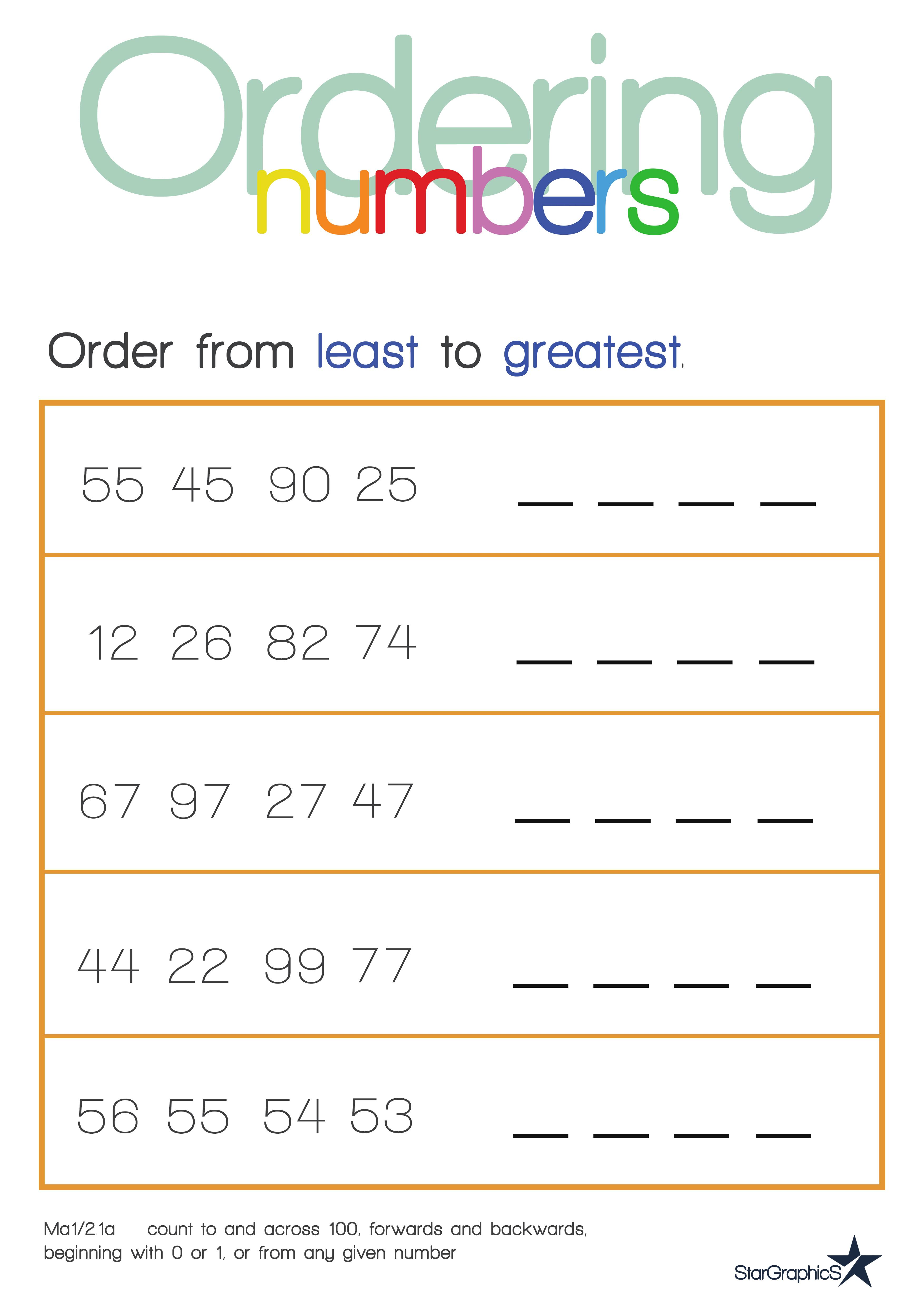 Ordering Numbers Least to Greatest Bundle Roll and Build Game – Ordering Numbers Worksheets