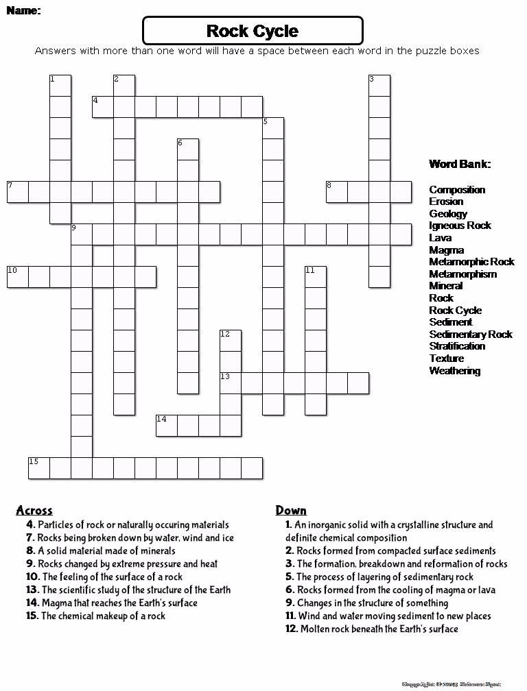 Rock cycle crossword puzzle next ccuart Images