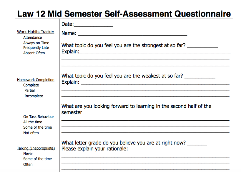 Law 12 Student Self-Assessment Questionnaire