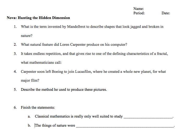 Fractal Movie Worksheet – Criminal Thinking Worksheets