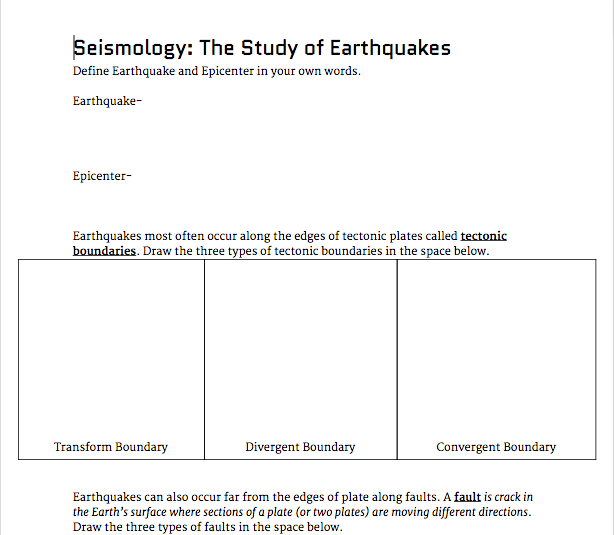 Worksheets Graphic Organizer For The Topic Faults seismology the study of earthquakes presentation and student graphic organizer