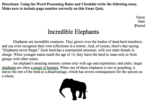 edmodo spotlight  word processing incredible elephant short essay quiz