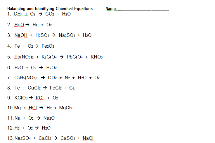 Balancing And Identifying Chemical Equations