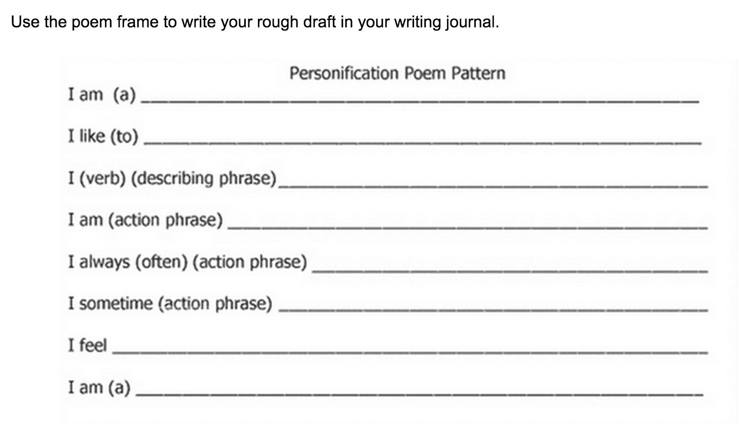 figurative language in music worksheet personification poems