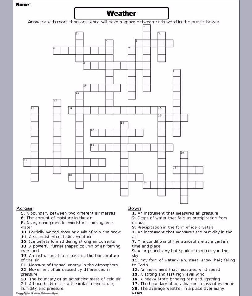 Weather, Severe Weather Crossword Puzzle