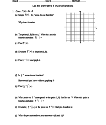 Derivatives of Inverse Functions Calculus- Worksheet