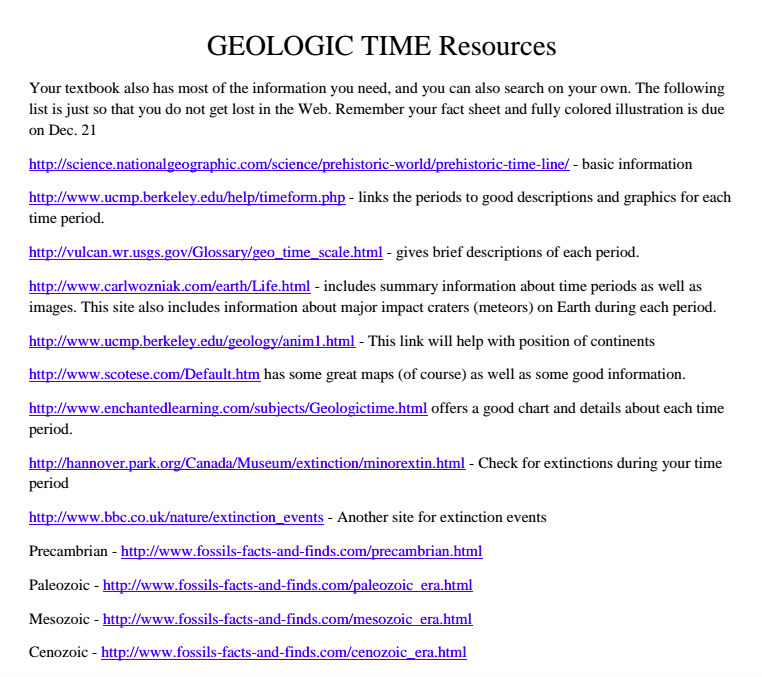 Exploring Geologic Time-Project Based Learning!
