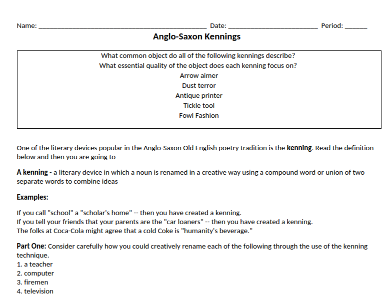 anglo saxon kennings worksheet