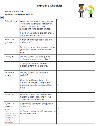 Writing and editing services checklist for 3rd grade