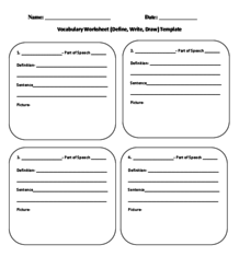 Vocabulary Worksheet (Define, Write, Draw) Template