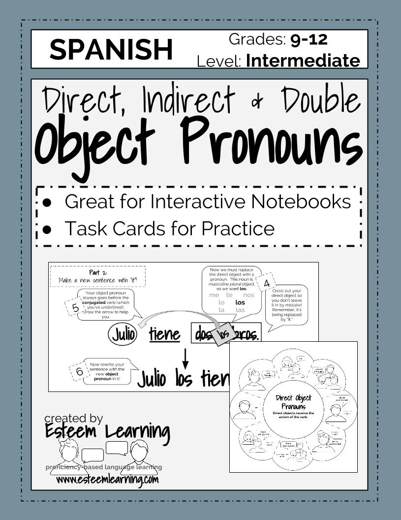 spanish task cards and inb notes for direct indirect and double object pronouns. Black Bedroom Furniture Sets. Home Design Ideas