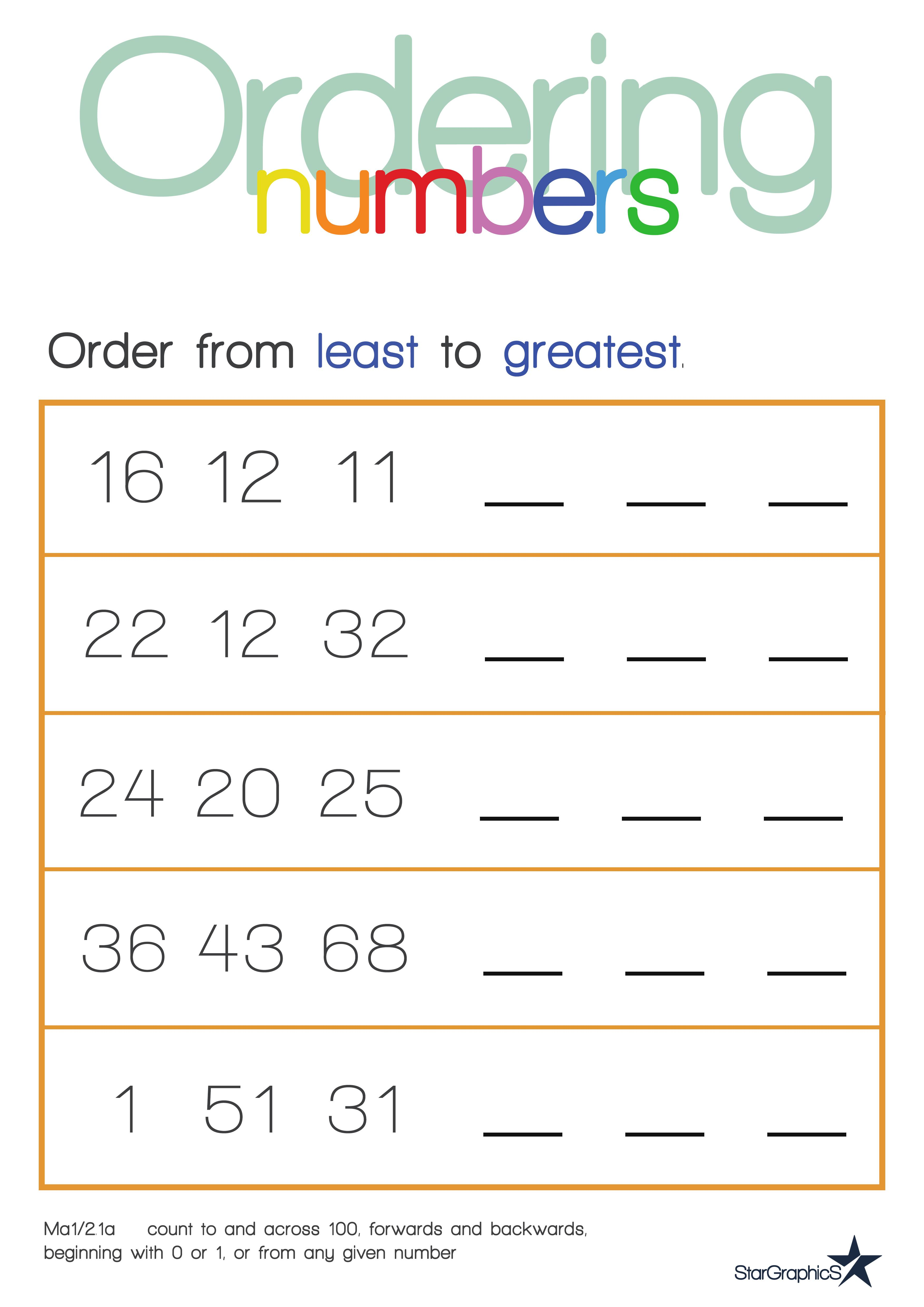 Worksheets Ordering Numbers Worksheets ordering numbers least to greatest