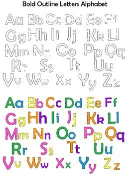 Clip Art Letters - Outline Alphabet Set - Fun Colors and Black and White