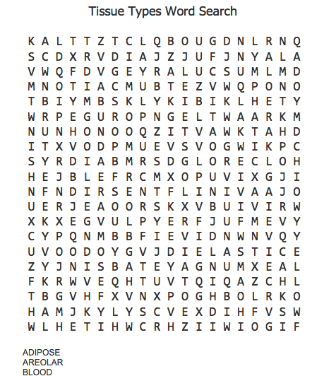 Tissue Types Of Human Body Word Search