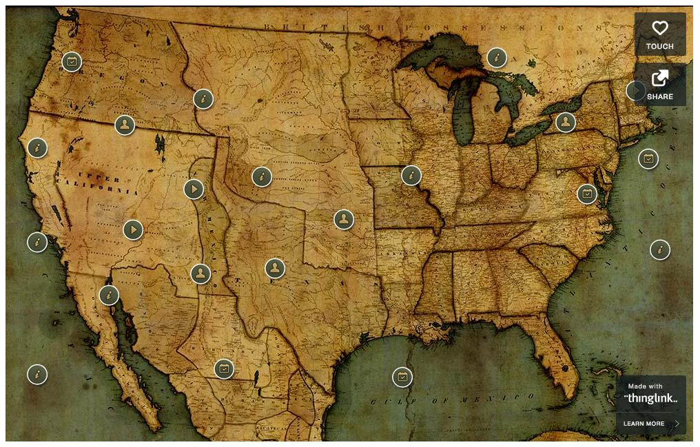 1849 California Gold Rush Trail - Interactive Map on z nation map, underground railroad map, the great train robbery map, mining map, the revolution map, gold trade map, klondike map, grand canyon map, gold at sutter's mill, colonial expansion map, alaska map, the 100 map, compromise of 1850 map, gold mining tools, mexican cession map, world copper mine map, missouri compromise map, us gold map, manifest destiny map, gold production map,